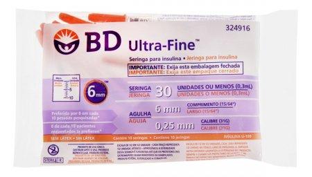 Seringa de Insulina Ultra-Fine 6mm 30UI
