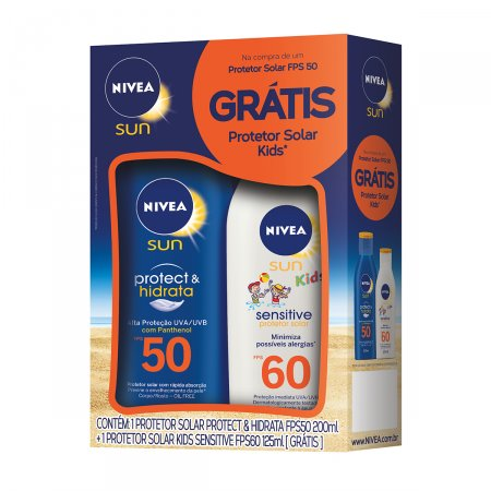 Kit Protetor Solar Corporal Nivea Sun Protect & Hidrata com 1 Protetor Infantil Kids FPS 60 de 125ml + 1 Protetor Adulto FPS 50 de 200ml