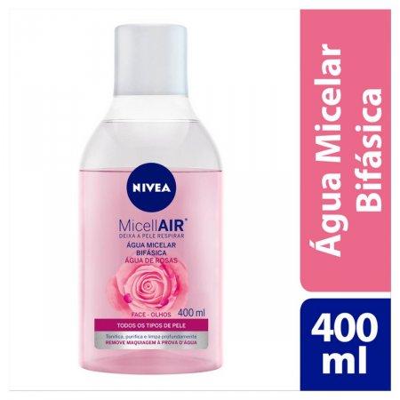 Água Micelar Bifásica Nivea MicellAIR Água de Rosas com 400ml