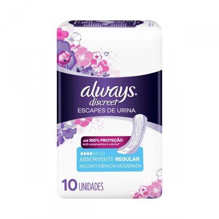 Absorvente Dia Always Discreet Incontinência Urinária com 10 unidades
