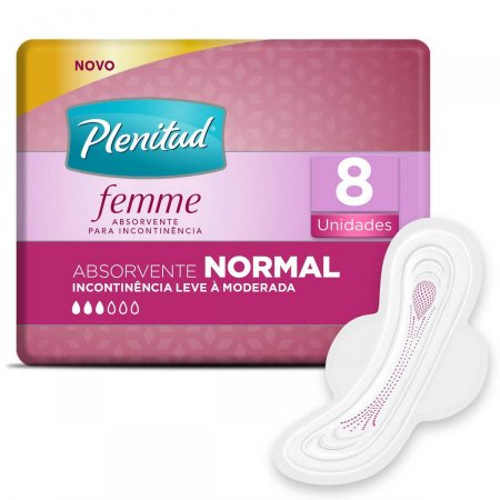 Absorvente para Incontinência Urinária Plenitud Femme Normal Com Abas com 8 unidades