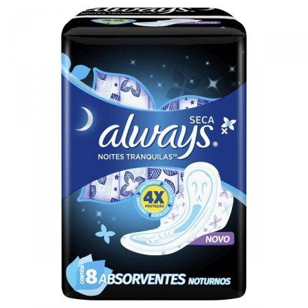 Absorvente Always Noites Tranquilas Cobertura Seca com Abas