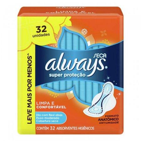 Absorvente Always Super Proteção Seca com Abas