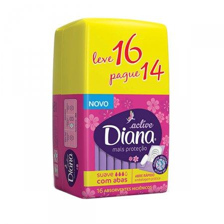 Absorvente Diana Active Cobertura Suave com Abas