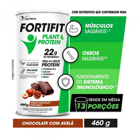 Suplemento Alimentar Fortifit Plant Protein Sabor Chocolate com Avelã 460g |
