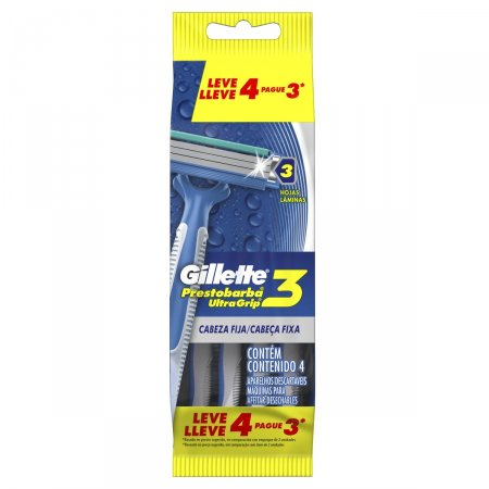 Aparelho de Barbear Descartável Gillette Prestobarba Ultragrip 3 Leve 4 Pague 3 Unidades |