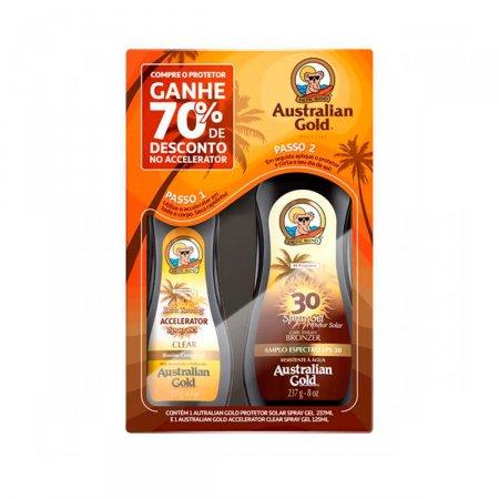 Kit Australian Gold Protetor Solar Instant Bronze FPS30 + Acelerador de Bronzeado