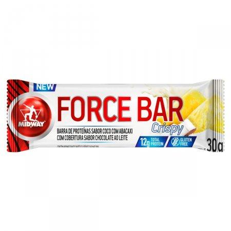 Barra de Proteina Force Bar Crispy Sabor Chocolate ao Leite com Recheio de Coco com Abacaxi com 30g