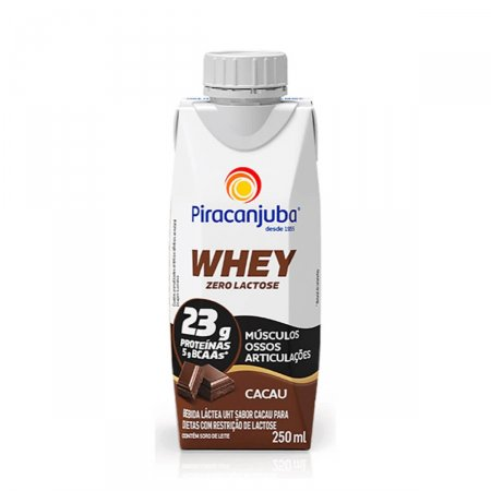 Bebida Láctea Piracanjuba Whey Zero Lactose Sabor Cacau com 250ml