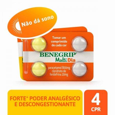 Benegrip Multi Dia 800mg + 20mg com 4 comprimidos