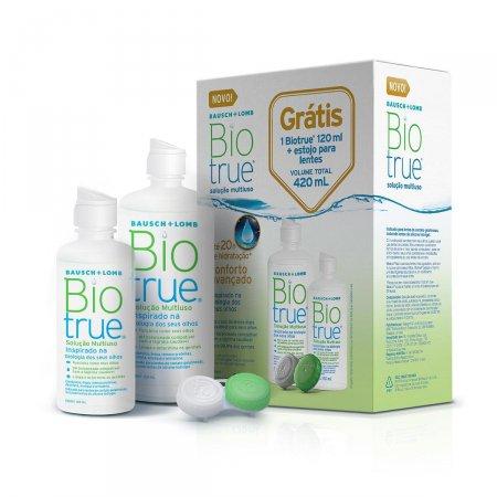 Kit Biotrue Solução para Lentes de Contato com 1 frasco de 300ml + 1 frasco de 120ml + 1 estojo para lentes