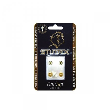 Brinco Antialérgico Studex Deluxe Daisy Dourado White Opal Sunflower com 1 par