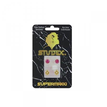 Brinco Studex Supermaxxi Dourado Pedra Rosé