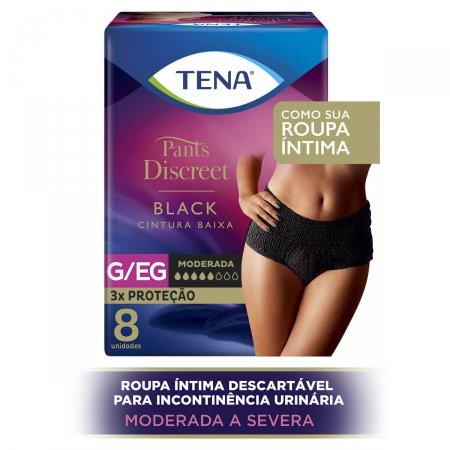 Calcinha Descartável Tena Pants Discreet Black Tamanho G/EG