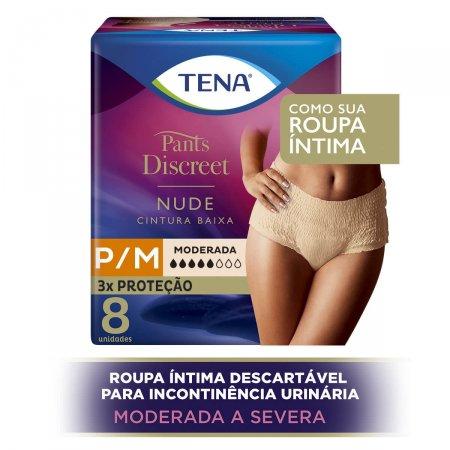 Calcinha Tena Pants Discreet Nude P/M Incontinência Urinária Descartável com 8 unidades
