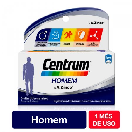 Suplemento Vitamínico-Mineral Centrum Homem com 30 comprimidos