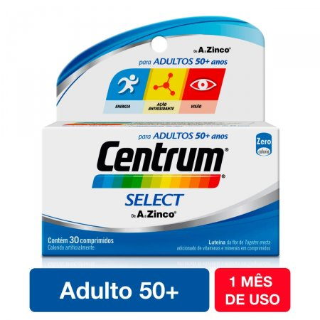 Suplemento Vitamínico-Mineral Centrum Select 50+ com 30 Comprimidos