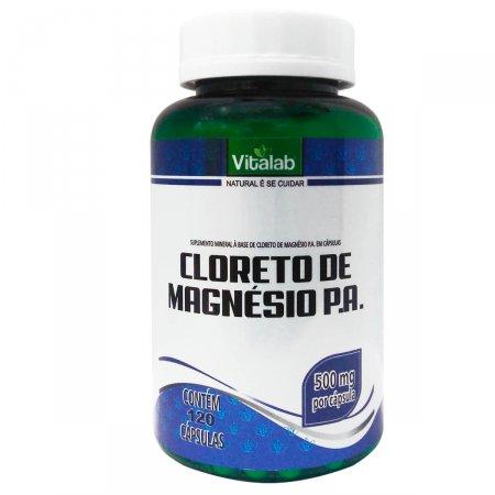 Cloreto de Magnésio P.A. 500mg Vitalab com 120 cápsulas