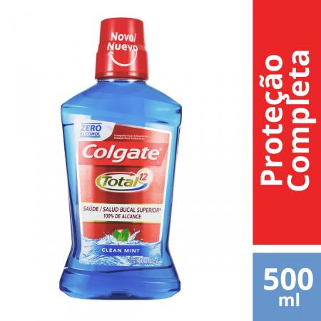 Enxaguante Antisséptico Bucal Colgate Total 12 Clean Mint Zero Álcool com 500ml
