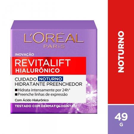 Creme Facial Anti-Idade L'Oréal Paris Revitalift Hialurônico Noturno com 49g