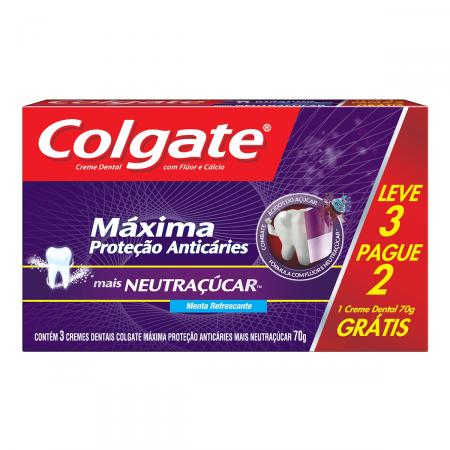 Pasta Dental Colgate Máxima Proteção Anticáries Mais Neutraçucar com 3 Unidades