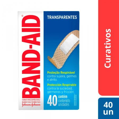 Band-Aid Curativos Transparentes com 40 unidades