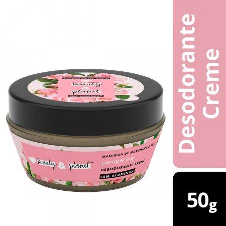 Desodorante Creme Beauty & Planet Pampering Manteiga de Murumuru e Rosa com 50g