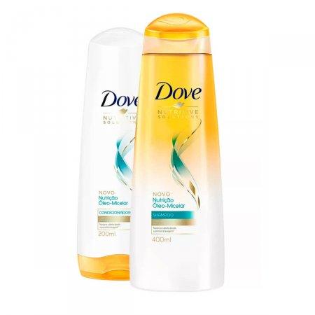 Kit Dove Nutrição Óleo-Micelar com 1 Shampoo de 400ml + 1 Condicionador de 200ml