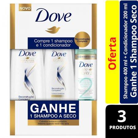Kit Shampoo + Condicionador Dove Reconstrução Completa Grátis Shampoo a Seco Dove Care On Day 2