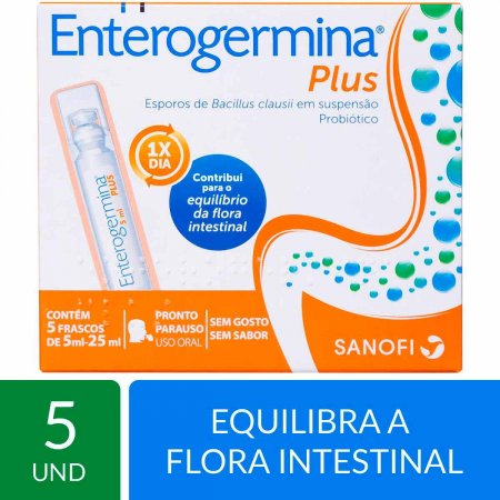 Probiótico Enterogermina Plus com 5 frascos de 5ml