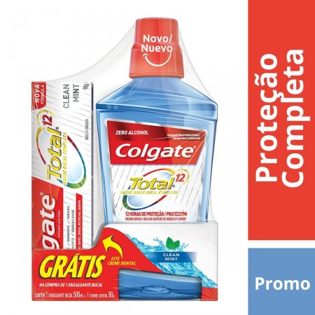 Kit Enxaguante Bucal Colgate Total 12 Clean Mint com 500ml Grátis Pasta Dental Total 12 com 90g