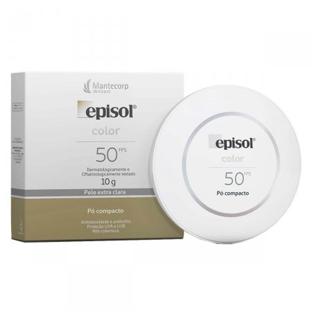 Protetor Solar Episol Color Pó Compacto FPS50 Pele Extra Clara