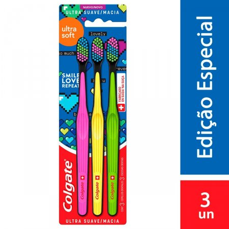 Escova de Dente Colgate Ultra Soft Ultra Macia com 3 unidades