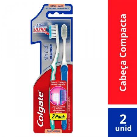 Escova de Dente Colgate Slim Soft Ultra Compact com 2 unidades