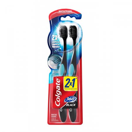Escova Dental Colgate 360º Black Leve 2 Pague 1 Unidade   Drogaraia.com Foto 1
