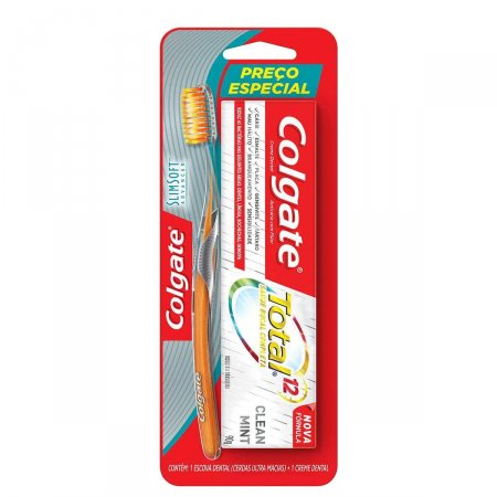 Escova Dental Colgate Slim Soft Advanced + Creme Dental Colgate Total 12