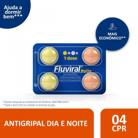 Fluviral Noite com 4 Comprimidos