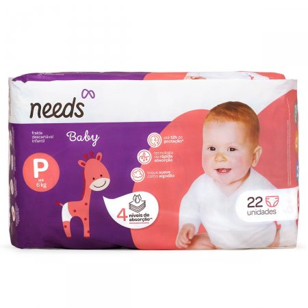 Fralda Descartável Needs Baby Tamanho P 22 Tiras |