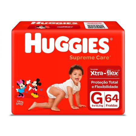 Fralda Huggies Supreme Care G com 64 Unidades
