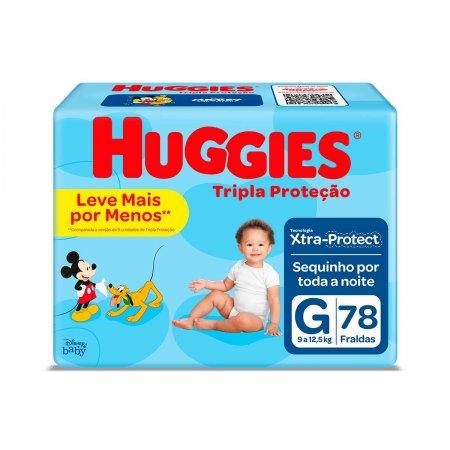 Fralda Huggies Tripla Proteção Hiper Tamanho G 78 Tiras   Drgaraia.com Foto 1