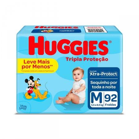 Fralda Huggies Tripla Proteção Hiper Tamanho M 92 Tiras | Drogaraia.com Foto 1