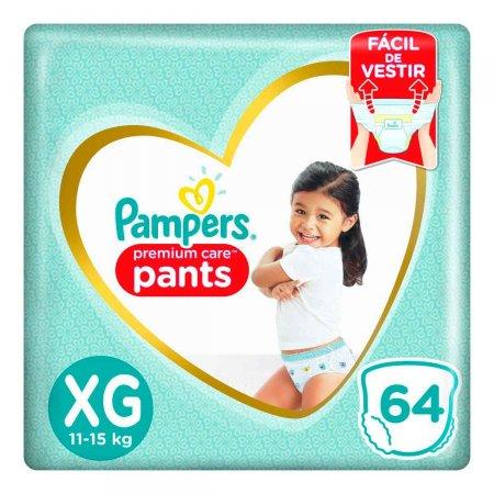Fralda Pampers Premium Care Pants XG com 64 unidades