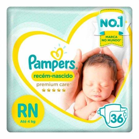 Fralda Pampers Recém-Nascido Premium Care RN com 36 unidades