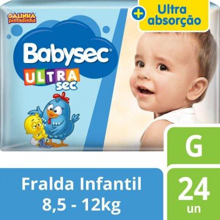Fralda Babysec UltraSec Galinha Pintadinha G com 24 unidades