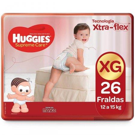 Fralda Huggies Supreme Care XG com 26 unidades