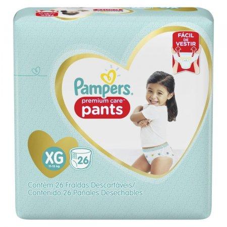 Fralda Pampers Premium Care Pants Tamanho XG com 26 unidades