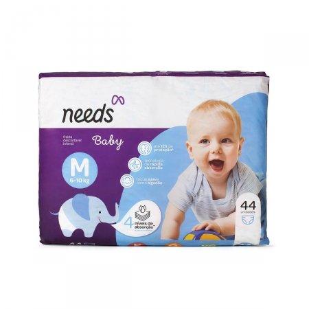 Fralda Descartável Needs Baby Tamanho M 44 Tiras  