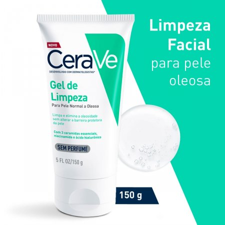 Gel de Limpeza Facial CeraVe Pele Oleosa Sem Perfume com 150g