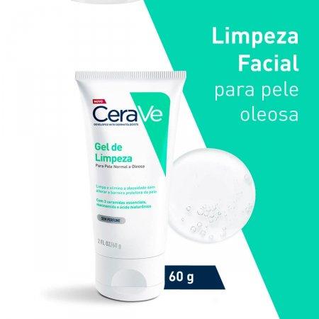 Gel de Limpeza Facial CeraVe Pele Oleosa Sem Perfume com 60g