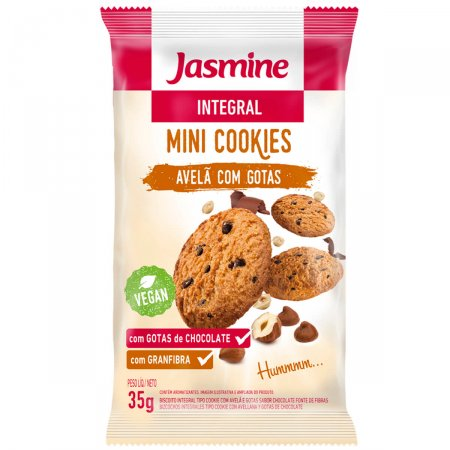 Mini Cookies Jasmine Integral Avelã com Gotas de Chocolate